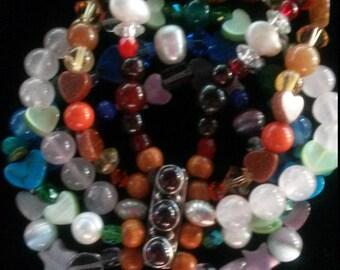 5 string gemstone chakra bracelet