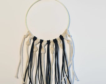 Black and Off-White Macrame Wall Hanging
