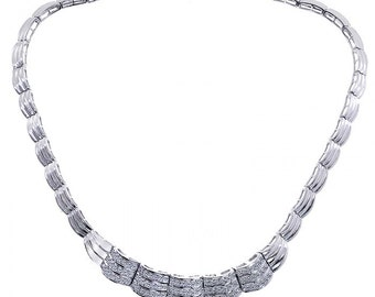 2.25 Carat Round Cut Diamond Scalloped Link Necklace 14K White Gold