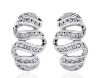 1.00 Carat Round Cut Diamond Wave Hoop Earrings 14K White Gold