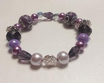 Item #028 Purple N Silver Bracelet