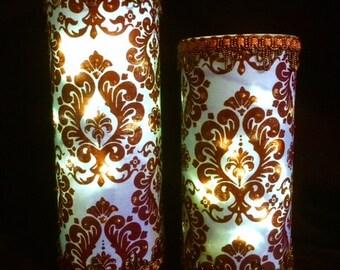 1 Set of Decoupaged Fabric Vases -  Blue and Brown Led Light Vase -