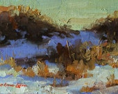 """RESERVED for SimonCo~ Original Oil Painting; New Snow #2 - 4"""" x 6"""""""