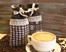 Set of 2 - Natural Linen 100% Coffee Bag with Lace, Cloth Bag