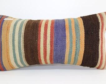 Ethnic Pillow 12x24 cushion cover striped kilim pillow home decor boho pillow multicolour pillow antique pillow floor pillow SP3060-620