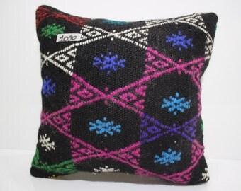 "Kilim Pillow Case 16x16 Anatolian Kilim Pillow 16""x16"" Turkish Kilim Cushion Blue Pillow Cover Black Pillow Cover Throw Pillow SP4040-1030"