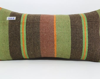 "kilim pillow,turkish pillow,lumbar pillow,decorative pillow,handmade kilim pillow cover,boho pillow,aztec pillow 12""x24"" inches SP3060-305"