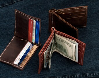 Money Clip Card Holder, Personalized Money Clip Wallet, Rachiba leather