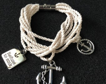 Anchor Rope Bracelet w Charms