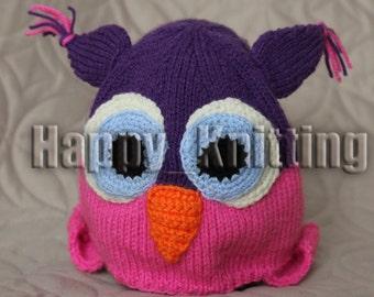 Owl hat, kids hat, girls hat, knitted hat, pink hat, winter hat