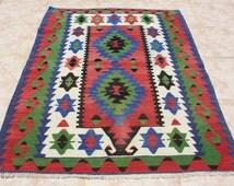 """Turkish Kilim Rug 3x4, Geometric Kilim, Wool, Handwoven, Kilim Rug Area Rug 36""""x50"""" -118"""