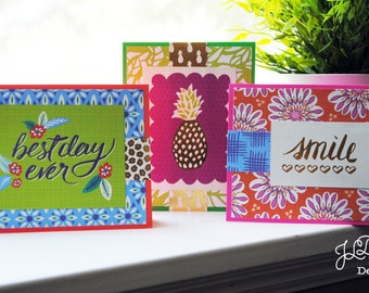 Boho Tropical Variety Card Set A - Set of 3 - Blank Note Cards