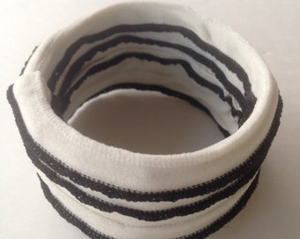 Black and White Fabric Cuff Bracelet