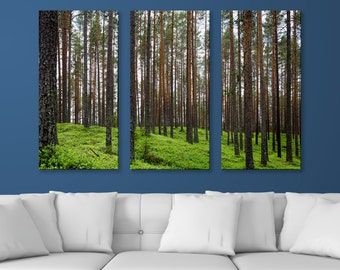"A Look Through the Pines, 3-Panel Split Canvas Triptych Print, 1.5"" Deep Frame, Gallery Wrap, Hanging Canvas Home & Office Wall Art Decor"