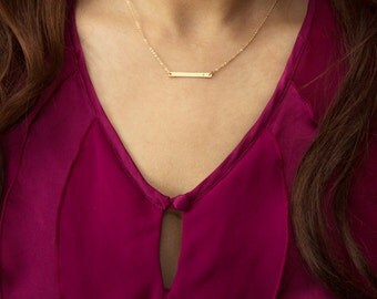 Personalized Skinny Bar Necklace (Gold Filled) • NBH26x3