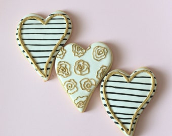 Rose & Striped Heart Cookies