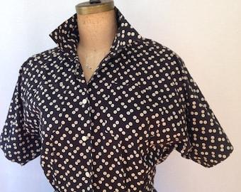 button print dress by Norma Kamali