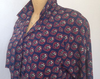 1980s print band bottom blouse by LIZ ROBERTS