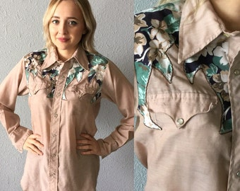 1970's Tan and Floral Ranch Wear Shirt