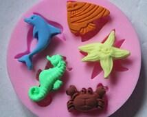 Silicone Sea Creature Animals Moulds Beach Fish Wedding Cake Chocolate Icing Sugarcraft