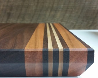 Cutting Board Walnut with Cherry and Maple (Gifts House warming Christmas Wedding Holidays Chef Kitchen food birthday cooking butcher block)