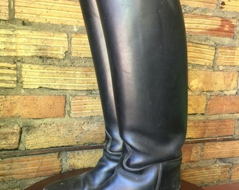 Vintage Knee high black leather riding boots