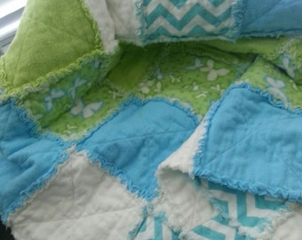 Blue and Green Flannel Rag Blanket