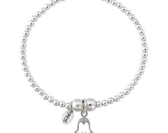 Trink Hand of Fatima Hamsa Sterling Silver Beaded Charm Bracelet