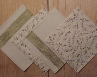 Reversible Placemats - set of 2 - Cream with Sage Green and Brown Accents