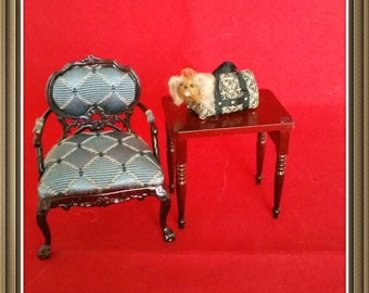 Miniature Yorkshire terrier in carrier dollhouse Yorkie in bag scale 1:12 dog