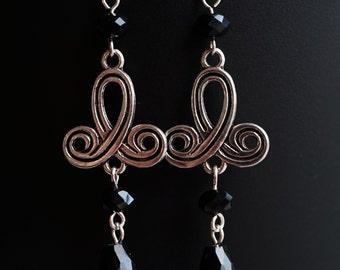 Tibetan antique silver Chandelier Earrings with black crystal beads (1 pair) Handmade Jewellery , Gift