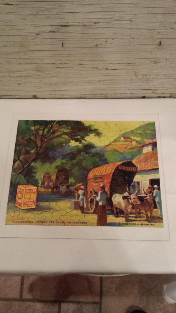Vintage 1933 LIPTON TEA 125 Piece Advertising Jig-Saw Puzzle