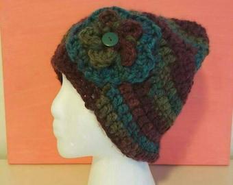 Colorful crochet flower beanie hat
