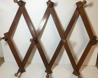 Large Vintage Accordian Style Expanding Wood Peg Rack