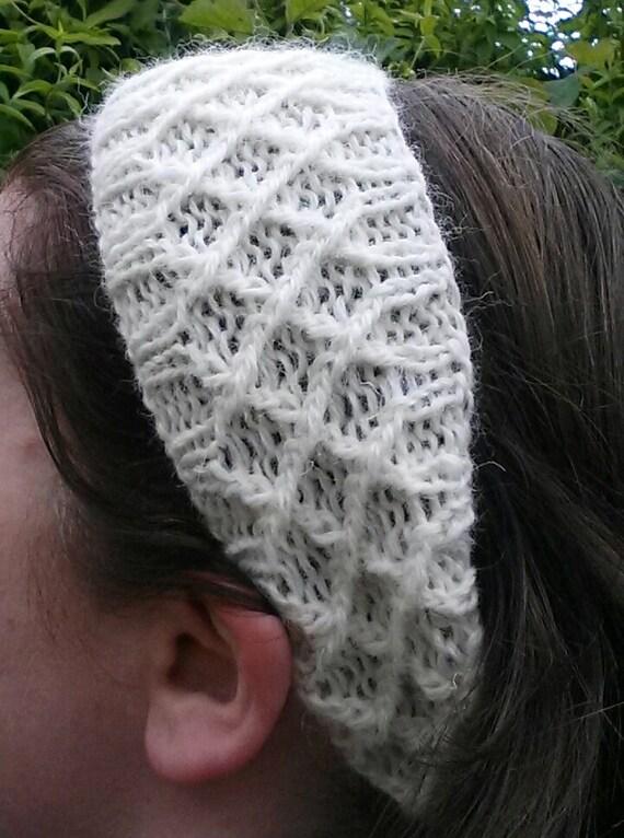 Aran headband neckwarmer; knit hairband; hair accessory; Aran scarf. Made in Ireland. Handknit headband. Aran hairband. Girlfriend gift.