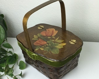 70's Lg Orange Rambling Rose Brown Basket Handbag