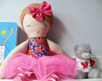 "Ava - Handmade rag doll, 38cm (15""), fabric doll, plush doll, gifts for girls."