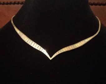 14K Tricolor Italian Omega Necklace