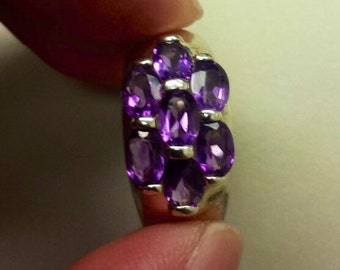 Sterling SIlver .925 Ring With Amethyst, Size 9.5