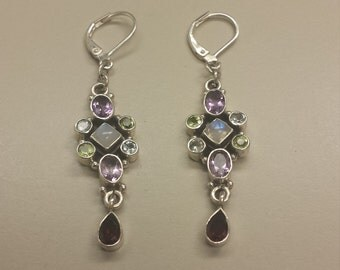Sterling Silver .925 Earrings With Semi Precious Stones
