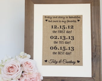 First Day Yes Day Best Day - Our Love Story - Wedding Burlap - Rustic Wedding Sign - Personalized Wedding Gift - Engagement Gift