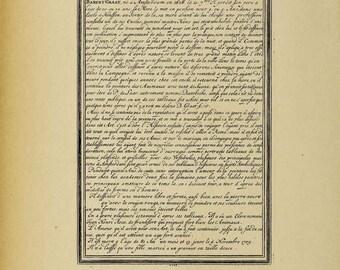 Handwriting French Text - Digital Download Image Transfer Pillow Burlap Iron-On Teeshirt Fabric Scrapbooking Digital Stamp