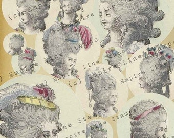 18th Century Women's Fashion Head Fashion Hairstyles (set No. 2)  2 Inch Circles for Pendants Downloadable Printable Scrapbook Paper Crafts