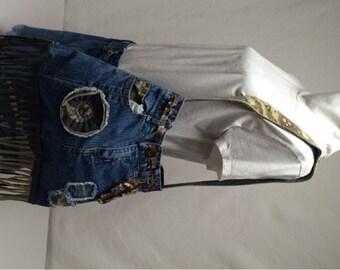 Camo, denim, shoulder, bag, casual, recycled, upcycled, OOAK, carabiner, t-shirt lining, fringe, pockets, hobo, boho
