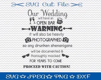Wedding Open Bar Sign SVG File / SVG Cut File /  SVG Download / Silhouette Cameo / Digital Download / Wedding Sign svg
