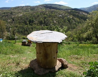 Trunk l biodiversity hive Beehive / ash or chestnut + roof slate (stone) / made in the Pyrenees
