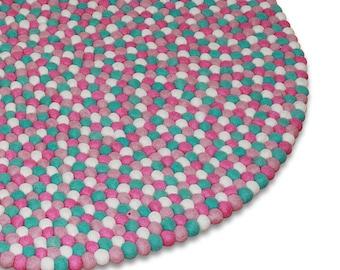 Strawberry Field Felt Ball Rug