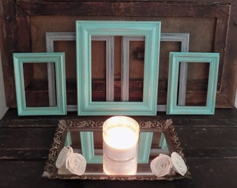 Shabby Chic Picture Frames, Set of Five Frames Any Color, 8x10, 5x7, White, Blue, Pink, Aqua, Coral, Teal, Gray, Grey, Black, Turquoise