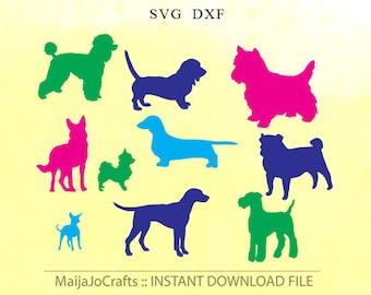 Animals silhouette animals SVG DXF cut file instant download Silhouette cameo designs Cricut cut file Silhouette Dogs, Cricut downloads