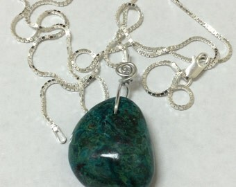Chrysocolla Necklace, sterling silver chain. Pt-123-10